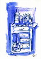 """""""Le meuble à peinture bleu"""",   watercolor on 300 gr Paper 21 cm x 29,7 cm"""