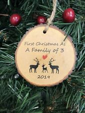 First Christmas As A Family Of 3 Gift Decoration Tree Bauble Log Effect New Baby