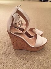 BNIB Authentic gianvito rossi Beige/white Leather Wedge Sandals Size 36 €595