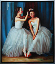 2 Ballerinen beim Ankleiden Ölmalerei Leinwand 60 x 50 cm Henri Gautier *1955