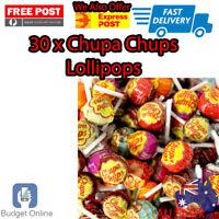 30 x Best Chupa Chups Lollipops Assorted Flavour Bulk Lollies Bag Candy NEW