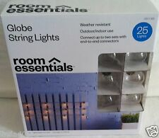 NEW 25 CLEAR GLOBE G40 TEAL WIRE RV IN/OUTDOOR PATIO STRING LIGHTS 20 FT