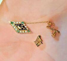 10K Gold Kappa Delta  Sorority Pin w/ Badge and small Kappa Delta pin