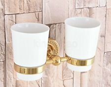 Golden Wall Mount Toothbrush Holder &Ceramic,Double cup, Bathroom Tumbler Holder