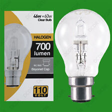 6x 110V 46W=60W Halogen GLS B22 Clear Construction Site Festoon Light Bulb Lamp
