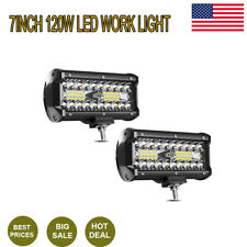 "Led Lights 7""120W 12000LM LED Work LightBar Combo Offroad for 4x4 Fog Light ty36"