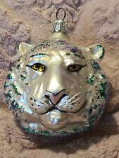"91-005-0 Christopher Radko White Tigar Blown Glass Christmas Ornament. 3.125"""