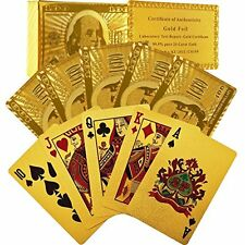 Gold Plated Foil Playing Cards Deck Plastic For Poker 24Kt Water Resist With Box
