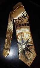 L@K! Custom Steampunk design Necktie - Gears Keys Maps Nautical Clock