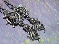 Nautical DANGLE Earrings HELM Mermaid Octopus Antique Silver Finish Ship's Wheel