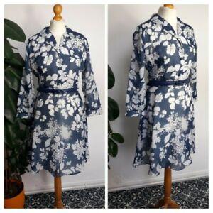 Vintage 1970s 70s Navy & White Floral Chiffon Floaty A Line Midi Dress Size 10