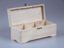 Teekiste 3 Fächer Teebox Teebeutel-Box Holz Kiefer unbehandelt Decoupage