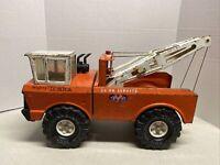 Vintage 1974-1975 Orange Mighty Tonka AA Tow Truck Steel Double Boom Wrecker