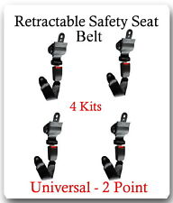 (4 Kits ) Universal Strap Retractable Car Trucks Safety Seat Belt Black 2 Point