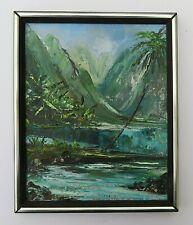 Mid Century Hawaii Landscape original Oil Painting 1970 palette knife