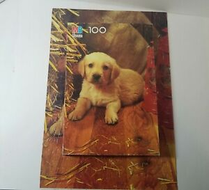 Vintage, 1988, Golden Labrador Puppy, Junior Puzzle, 100 Piece, Milton Bradley
