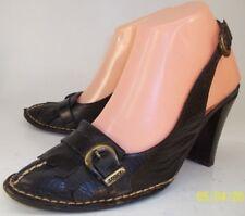 Ciro Wo's EU 36 US 5 Black Leather Loafer Kiltie Slingbacks Heels Pump Shoes