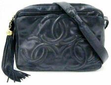 Authentic CHANEL Navy Lambskin Triple Coco Fringe Crossbody Shoulder Bag Italy