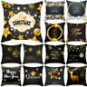Black Christmas Pillow Case Glitter Cotton Linen Sofa Room Throw Cushion Cover