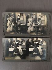 Lot of 2 Stereo View Cards Humorous Subject Keystone View Company