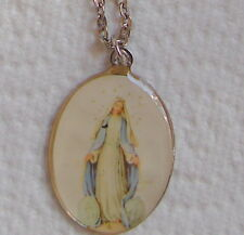 """VINTAGE NECKLACE mop RELIGIOUS MARY JESUS? SILVER CHAIN  DESIGN 11"""""""