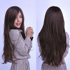 Women's Fashion Long Straight Hair Full Wig Cosplay Party Brown Natural Style