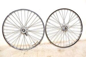 "1979 Schwinn Heavy Duti Bicycle * RIM WHEEL SET * Vintage Mens 26"" Bike Part"