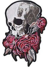 """Skull Bleeding Roses Lady Rider Motorcycle Jacket Back Patch Iron On Large 11"""""""