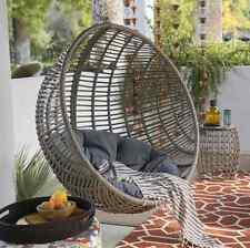 Hanging Egg Chair Resin Wicker Tufted Cushion Stand Porch Swing Patio Sunroom