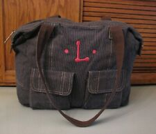 Thirty One TOTE Blue / Gray Carry All PURSE Handbag Satchel Monogram Pink L