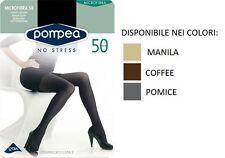 2 Paia Collant Pompea microfibra 50 den coprente colore Coffe Taglia 3/m