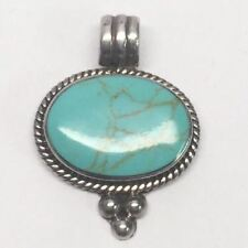 Mexico Sterling Silver Turquoise Oval Pendant