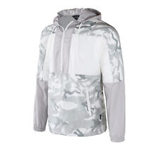 Men's Hooded Pullover Lightweight Windbreaker Outdoor Jacket White Camo Fashion