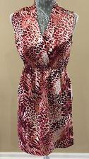 Mac & Jac Womens Dress Size Small Wrap Bodice Burgundy White Animal Print Work