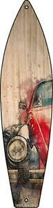 """Red Small Car Metal Surfboard Sign 17"""" x 4.5"""" Wall Decor - DS"""