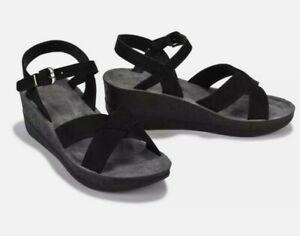 Olive Street Cocco Cross Women's Wedge Comfort Sandals Black Size 11