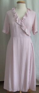 Cute Uniqlo Ines de la Fressange pink red short sleeve wrap midi dress pockets L