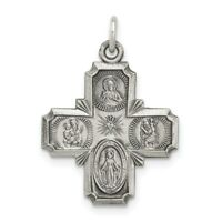 Sterling Silver Reversible 4-way Cross Medal Charm Pendant 1.46 Inch