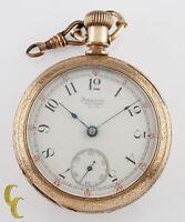 Gold Filled Waltham Wm. Ellery Antique Open Face Pocket Watch Size 18 11 Jewel
