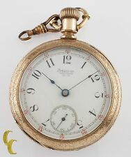 Gold Filled Waltham Antique Open Face Pocket Watch Size 18 11 Jewel