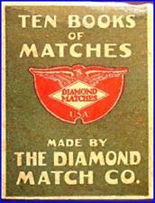 EX 1900s Rare Antique Empty Box From Diamond Match Co Ten Books of Matches - #1