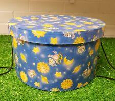 Stacking Hat Box Nursery Storage Box - Blue Sleepy Owl Sleeping Sun
