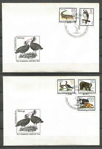 Germany (East) DDR GDR 1985 FDC (2) Protected Animals Waldrapp Ibis Eagle Geese