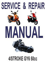 Chinese Scooter 50cc GY6 Service Repair Shop Manual CD Thunder GY50A BMS SSR GMI