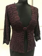 Womens Purple Crochet Cocktail Party Summer Evening Cover Up Wrap Cardigan
