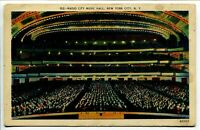 Radio City Music Hall No. 152 New York, New York Linen Unposted postcard