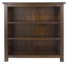 Boston Dark Wood Bedroom Range - Low Wide Bookcase with Two Adjustable Shelves