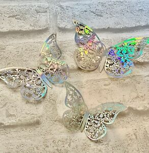6 Silver Butterfly Decorations … Cake Topper , Cupcake .. Party