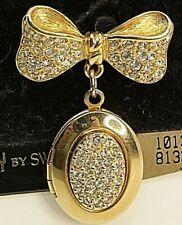 Signed Swarovski Savvy Brooch Dangle Locket Pave Bow Gold Plated NEW