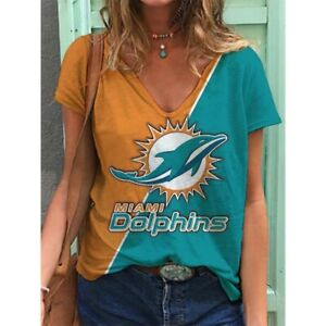 Miami Dolphins Women Summer Short Sleeve Blouse Casual V-Neck T Shirt Tops